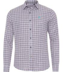 camisa masculina linho xadrez - cinza