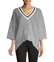 stellah women's v-neck high-low sweater - silver - size s