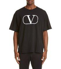 men's valentino v logo t-shirt, size xx-large - black