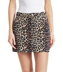 ganni women's leopard denim skirt - leopard - size 38 (6)
