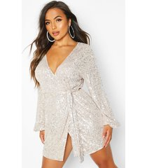 petite belted balloon sleeve sequin dress, nude