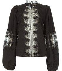 blouse met kant madelyn  zwart