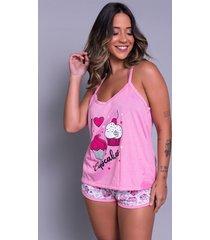 pijama feminino serra e mar modas short doll estampado rosa - rosa - feminino - poliã©ster - dafiti