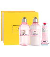 l'occitane presente banho e hidratação rosas