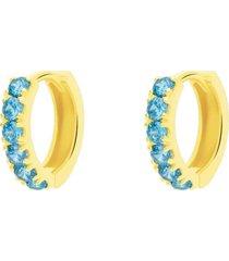 orecchini a cerchio in oro giallo e zirconi turchese per donna