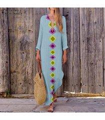 zanzea mujer de manga larga floja ocasional de lino kaftan vestido maxi vestidos largos de las señoras -azul claro