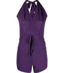 p.a.r.o.s.h. fine-knit halterneck playsuit - purple
