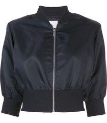 cinq a sept cindy silk bomber jacket - black