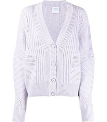 barrie open-knit detail cardigan - purple