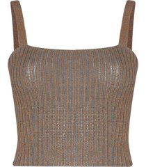 eckhaus latta ribbed-knit cropped vest - brown