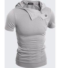 fibbie in metallo chiuso con chiusura a freddo e colore solido degli uomini. magliette in cotone con cappuccio sottile