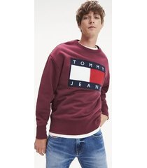 tommy hilfiger men's tommy flag sweatshirt burgundy - xl