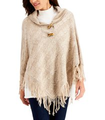 karen scott toggle-button poncho, created for macy's