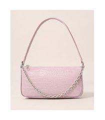bolsa croco baguete com corrente rosa