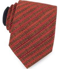 missoni designer narrow ties, red and orange signature diagonal stripe woven silk narrow tie