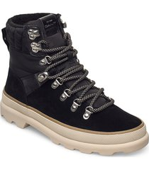 kaari mid lace boot shoes boots ankle boots ankle boot - flat svart gant