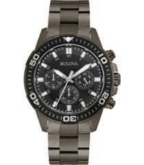 bulova men's chronograph sport gray stainless steel bracelet watch 42mm, created for macy's
