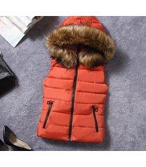 2017 new winter fur collar vest down joker cotton hooded vest women waistcoat