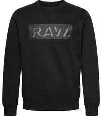 raw dot box graphic r sw l\s sweat-shirt tröja svart g-star raw