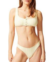 solid and striped women's the elle textured stripe bikini top - blonde rib - size xs