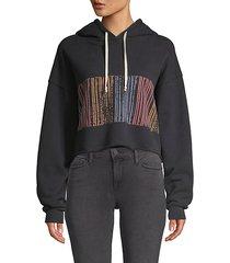 cropped raw-hem graphic hoodie