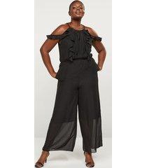 lane bryant women's shimmer dot ruffle jumpsuit 24 black