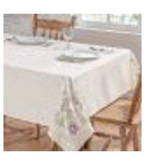 toalha de mesa dália palha / lilás retangular 2,50m x 1,40m