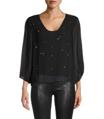 cynthia rowley women's inverness bejeweled top - black - size xs
