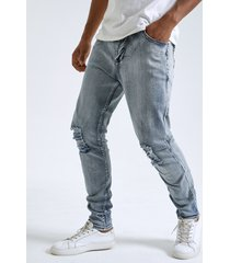 hombre casual plain zip fly ripped skinny jeans