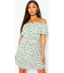 floral off shoulder skater dress, sage