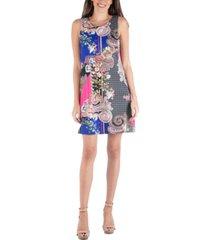 24seven comfort apparel multi print pattern sleeveless shift dress