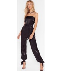 jump to it satin belted jumpsuit