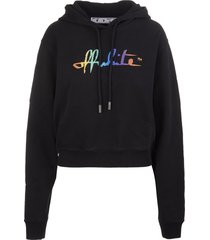 black woman hoodie with rainbow logo