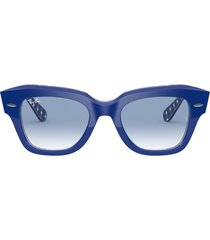 ray-ban ray-ban rb2186 blue on vichy blue / white sunglasses