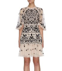 'bonnie bow' floral embroidered cape sleeve tier mini dress