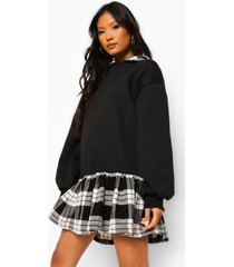 petite 2-in-1 geruite sweatshirt jurk met blouse detail, black