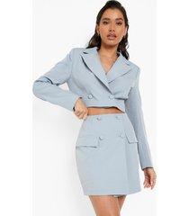 mix & match monochrome korte blazer, dusty blue