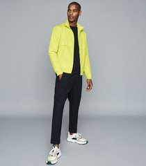 reiss lake - hooded technical jacket in yellow, mens, size xxl