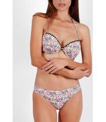 bikini admas ensemble 2 pièces bikini push-up dos nu skin pink flowers