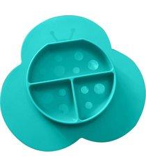 prato e jogo americano joaninha em silicone com divisória girotondo baby verde