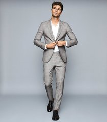 reiss grand - wool checked two piece suit in grey/fluro, mens, size 46