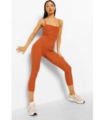geribbelde wide leg jumpsuit met bandjes, rust