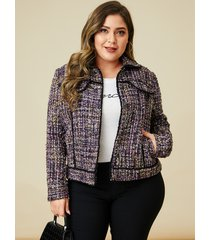 yoins plus talla cuadros morados classic chaqueta con cuello