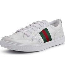 sapatênis casual listras dhl calçados masculino branco