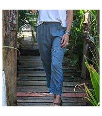 rayon pants, 'smoke padma flower' (indonesia)