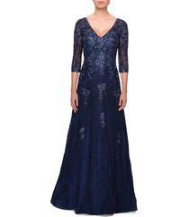 women's la femme embroidered lace gown