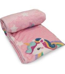 cobertor prime flannel hazime unicórnio rosa - kanui