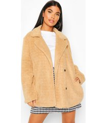 petite double breasted cropped teddy coat, camel