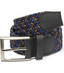 cinturón trenzado combinado azul, miel y negro doshka