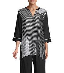 mixed-print pajama top